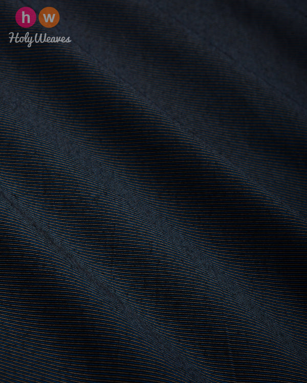 Gunmetal Gray Pin-stripe Plain Woven Art Cotton Silk Fabric- HolyWeaves