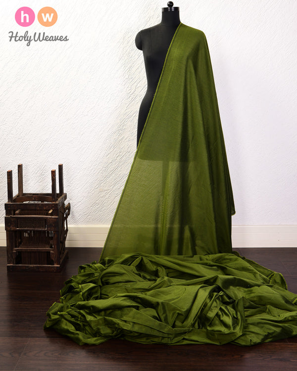 Army Green Plain Art Cotton Silk Fabric for Pyjama, Chudidar, Furnishings etc- HolyWeaves