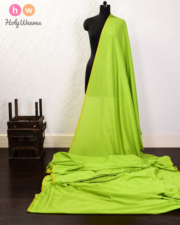 Neon Green Plain Art Cotton Silk Fabric for Pyjama, Chudidar, Furnishings etc - HolyWeaves