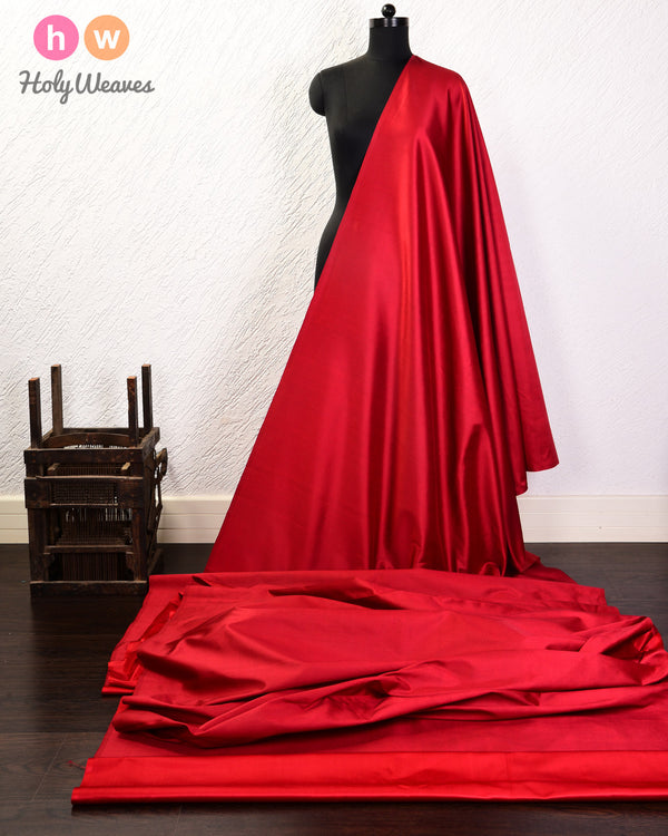 Red Plain Satin Viscose Silk Fabric- HolyWeaves