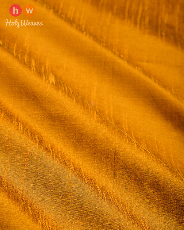 Mustard Yellow Slub Waterfall Plain Woven Poly Dupion Fabric for Furnishings, Handicrafts etc - HolyWeaves