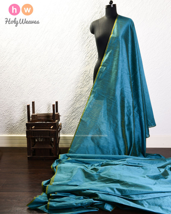 Teal Blue Slub Waterfall Plain Woven Poly Dupion Fabric for Furnishings, Handicrafts etc - HolyWeaves