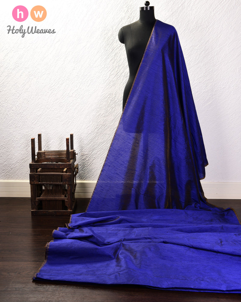 Midnight Blue Slub Waterfall Plain Woven Poly Dupion Fabric for Furnishings, Handicrafts etc - HolyWeaves