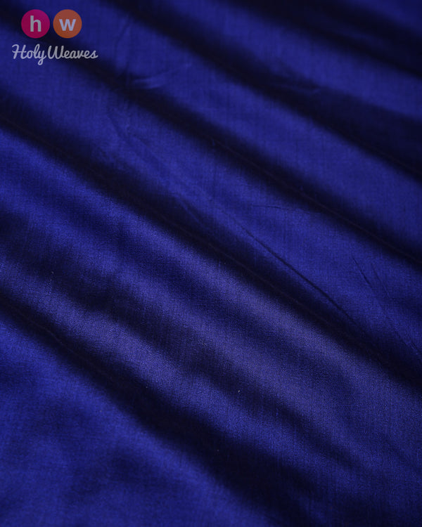 Navy Blue Banarasi Plain Woven Spun Silk Fabric - HolyWeaves