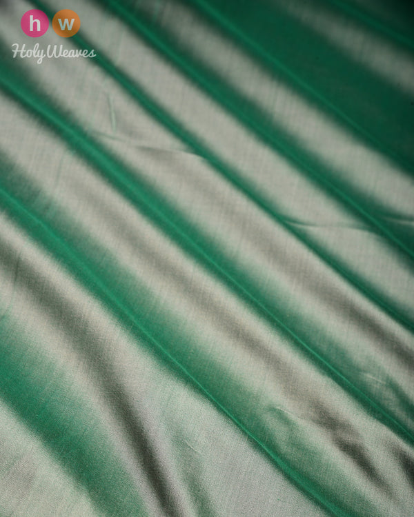 Emerald Green Banarasi Plain Woven Spun Silk Fabric - HolyWeaves