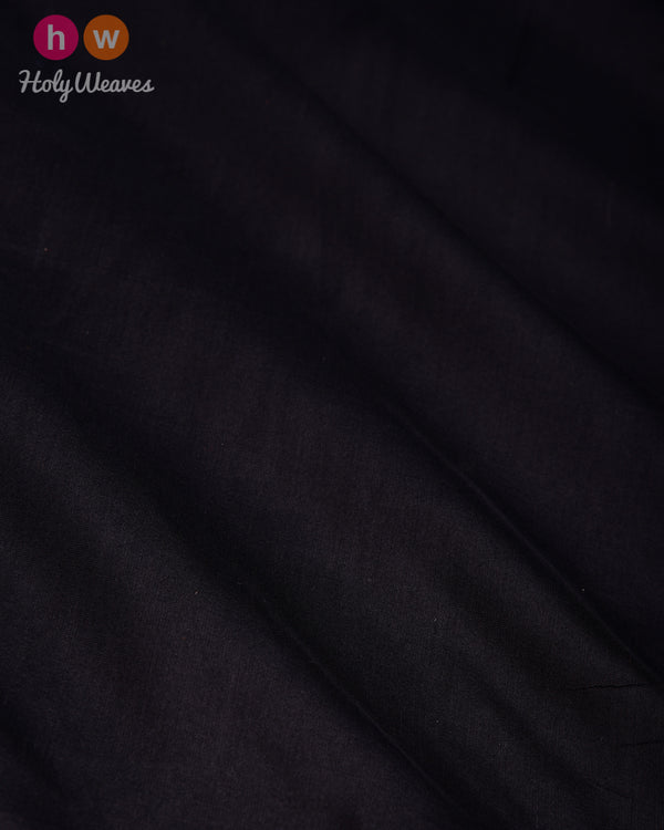 Black Banarasi Plain Woven Spun Silk Fabric - HolyWeaves