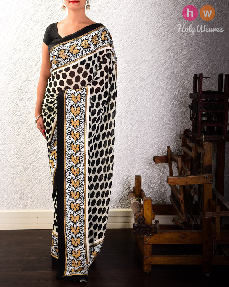 Black Hand-embroidered Georgette Saree - HolyWeaves
