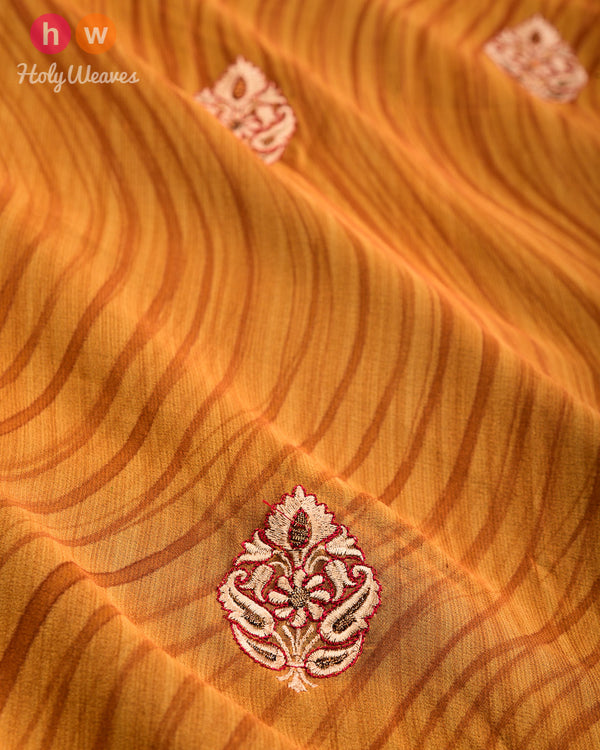 Mustard Yellow Hand-embroidered Georgette Saree- HolyWeaves