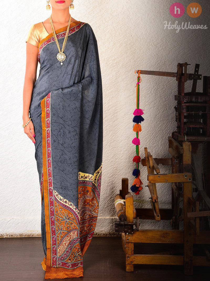 Grey Crepe  Printed Saree - HolyWeaves