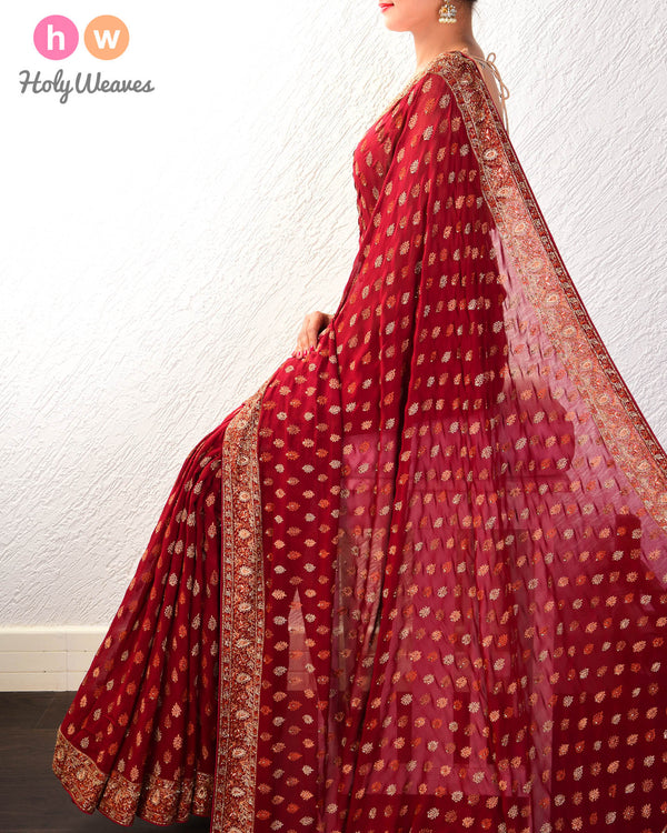 Maroon Hand-embroidered Georgette Saree - HolyWeaves