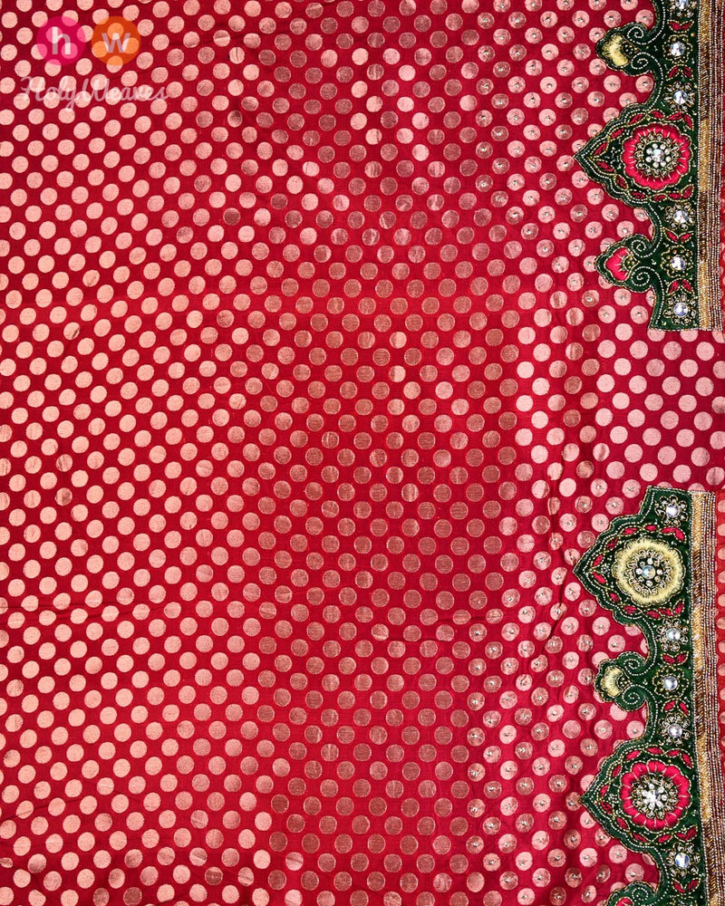 Beige-Red Hand-embroidered Handloom Net Saree - HolyWeaves