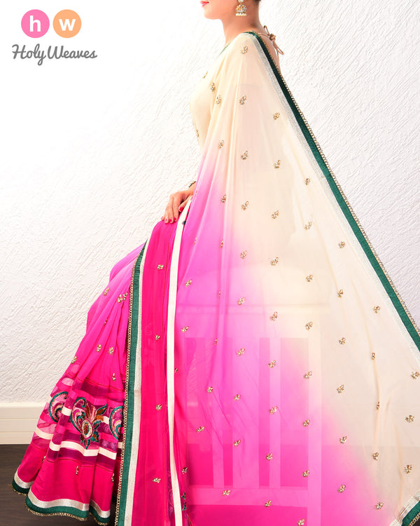 Rani Pink Hand-embroidered Georgette Saree - HolyWeaves