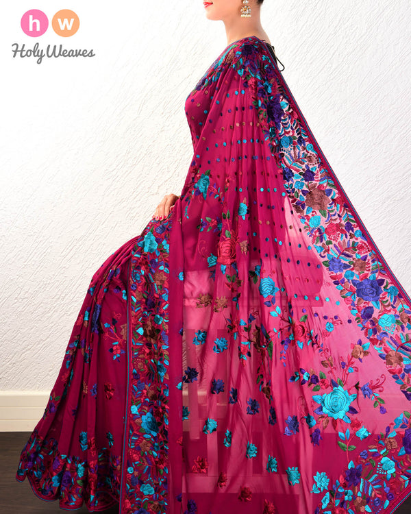 Purple Hand-embroidered Georgette Saree - HolyWeaves