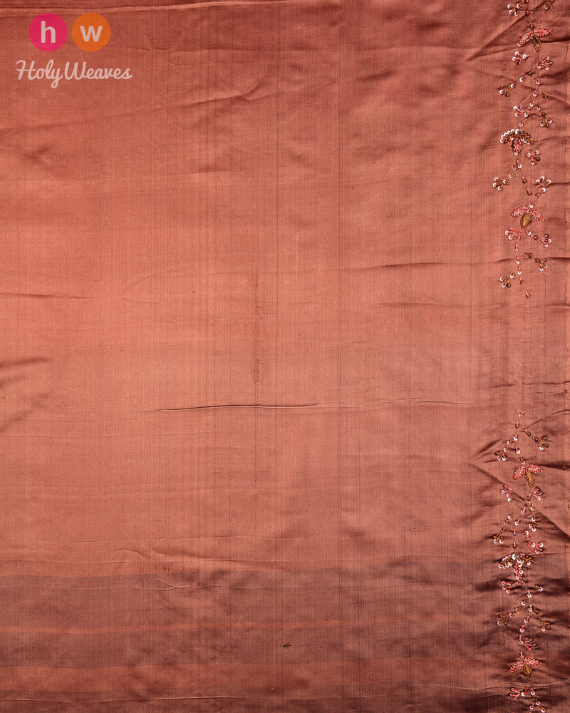 Beaver Brown Hand-embroidered Katan Silk Saree - HolyWeaves