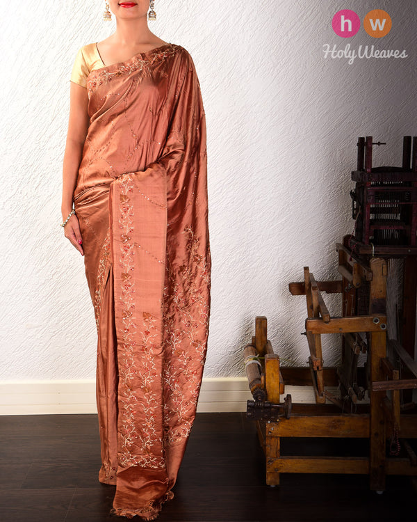 Beaver Brown Hand-embroidered Katan Silk Saree- HolyWeaves