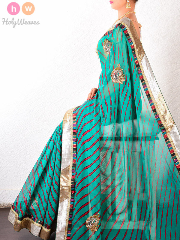 Green Georgette  Bandhani Saree- HolyWeaves