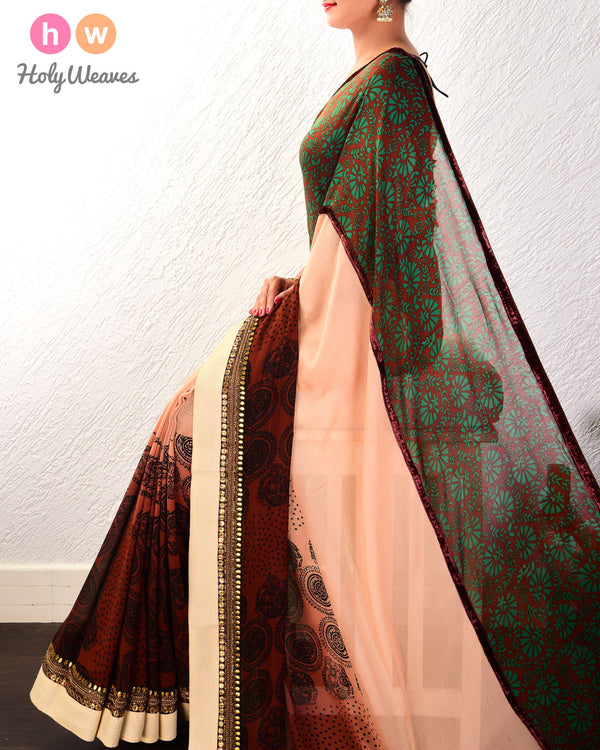 Garnet Printed & Hand-embroidered Georgette Saree - HolyWeaves