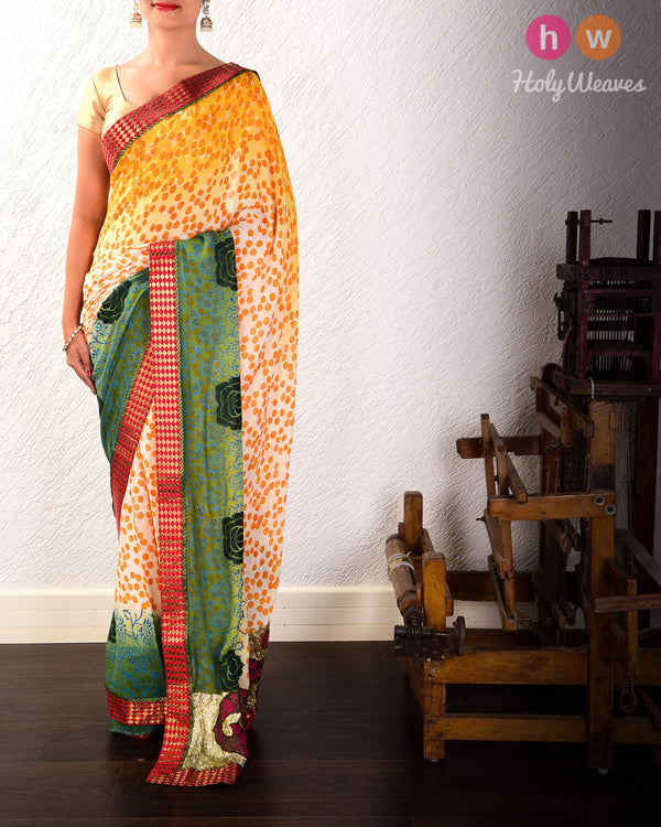 Yellow Hand-embroidered Georgette Saree - HolyWeaves