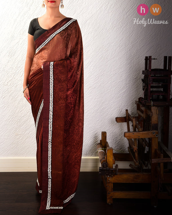Brown Hand-embroidered Georgette Saree - HolyWeaves