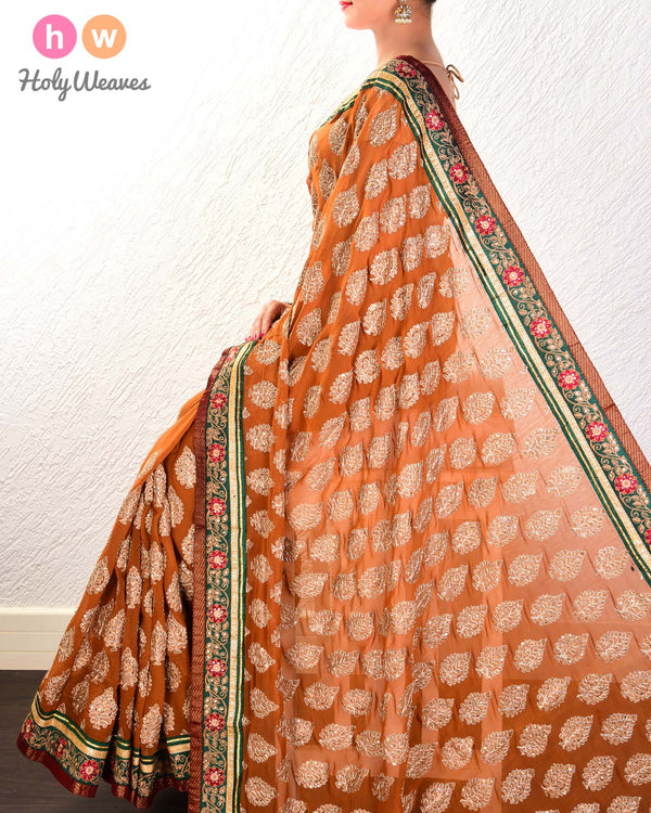 Beige Hand-embroidered Georgette Saree- HolyWeaves