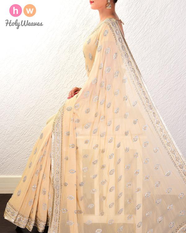 Beige Hand-embroidered Georgette Saree - HolyWeaves