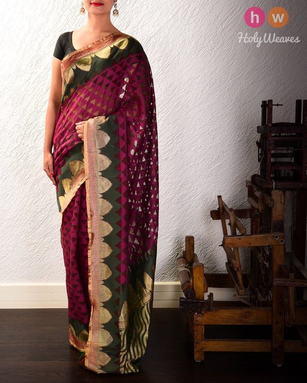Purple Banarasi Cutwork Brocade Handwoven Handloom Net Saree - HolyWeaves