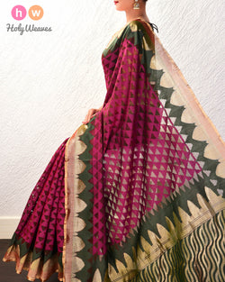 Purple Banarasi Cutwork Brocade Handwoven Handloom Net Saree- HolyWeaves