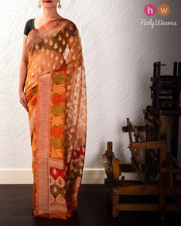 Mustard Banarasi Cutwork Brocade Handwoven Handloom Net Saree- HolyWeaves