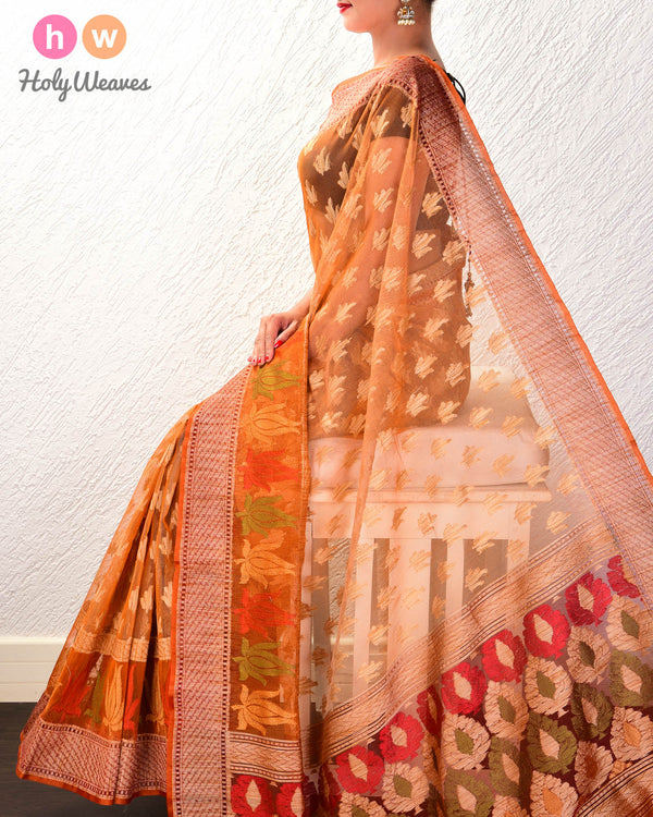 Mustard Banarasi Cutwork Brocade Handwoven Handloom Net Saree - HolyWeaves