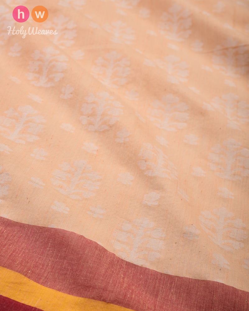 Beige Cutwork Brocade Handwoven Cotton Silk Saree - HolyWeaves