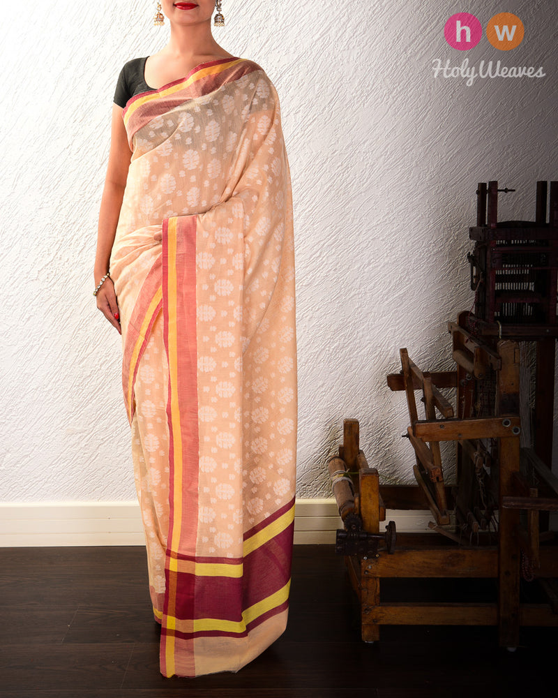 Beige Cutwork Brocade Handwoven Cotton Silk Saree- HolyWeaves