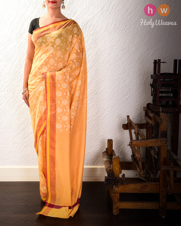Yellow Cutwork Brocade Handwoven Cotton Silk Saree- HolyWeaves