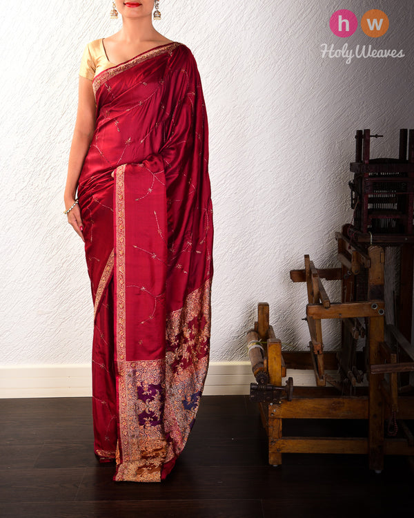 Maroon Handwoven & Embroidered Katan Silk Saree- HolyWeaves
