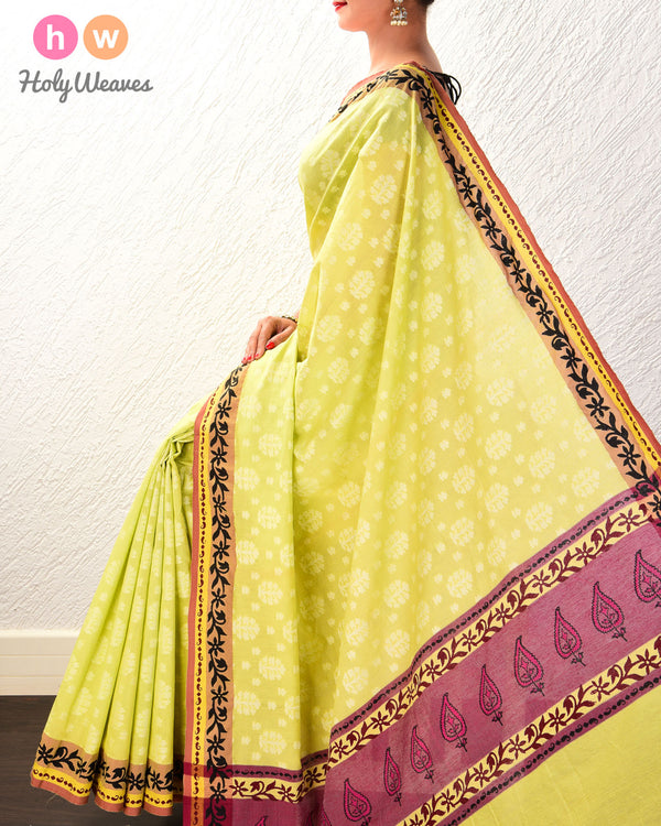 Green Cutwork Brocade Handwoven Cotton Silk Saree- HolyWeaves