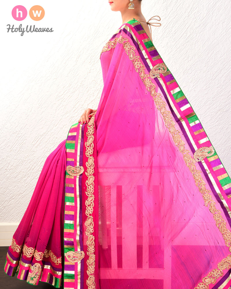 Pink Hand-embroidered Chiffon Saree- HolyWeaves