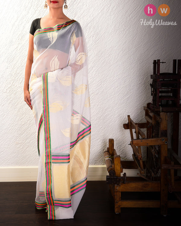 White Banarasi Cutwork Brocade Handwoven Handloom Net Saree- HolyWeaves