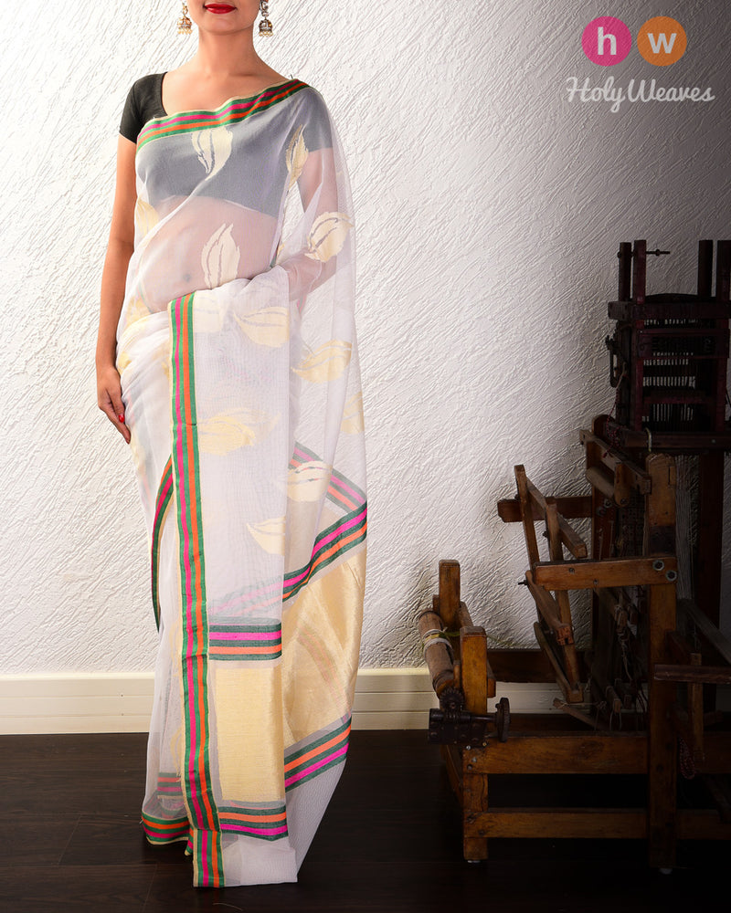 White Banarasi Cutwork Brocade Handwoven Handloom Net Saree - HolyWeaves