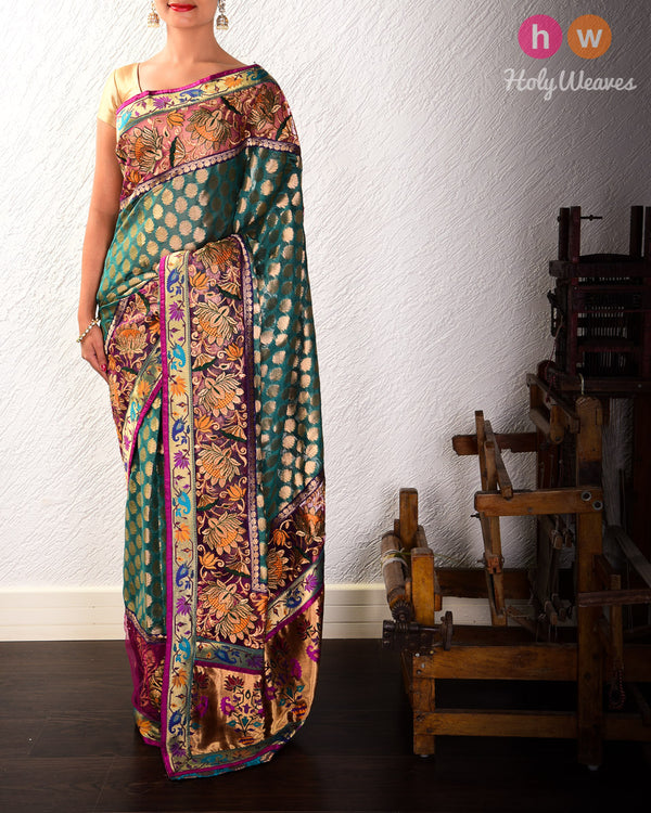 Green Hand-embroidered Art Silk Saree - HolyWeaves
