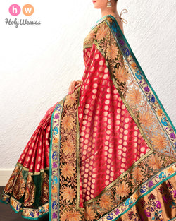 Maroon Hand-embroidered Art Silk Saree- HolyWeaves