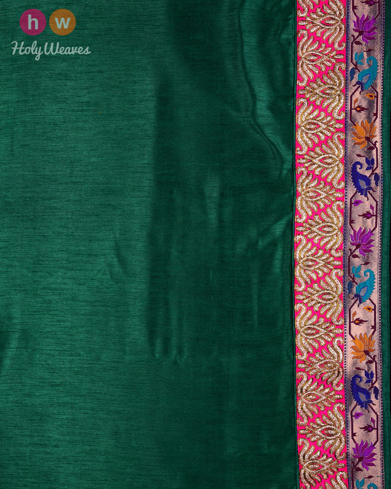 Purple Hand-embroidered Art Silk Saree - HolyWeaves