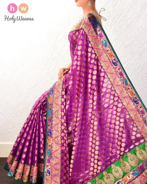 Purple Hand-embroidered Art Silk Saree- HolyWeaves