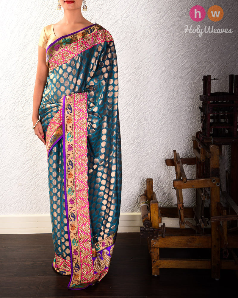 Teal Blue Hand-embroidered Art Silk Saree- HolyWeaves