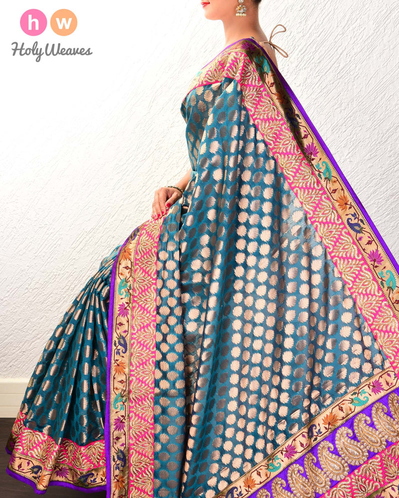 Teal Blue Hand-embroidered Art Silk Saree - HolyWeaves