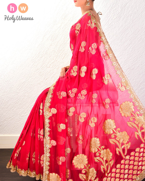 Pink Hand-embroidered Georgette Saree - HolyWeaves
