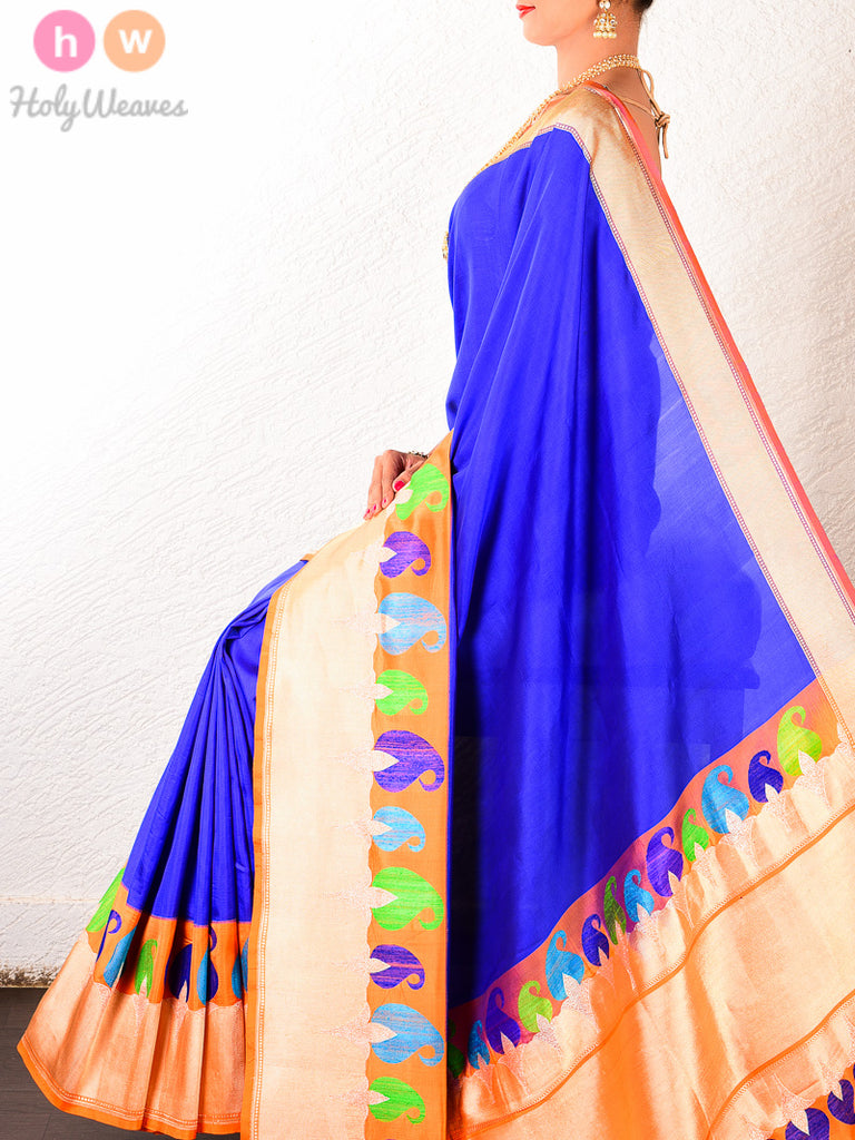 Royal Blue Katan Silk Kadhuan Paisley Tilfi Brocade Handwoven Saree with orange Kadiyal Borders - HolyWeaves