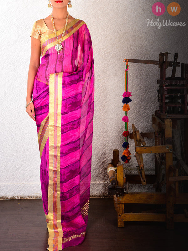 Pink-Purple Hand-Painted Saree - HolyWeaves