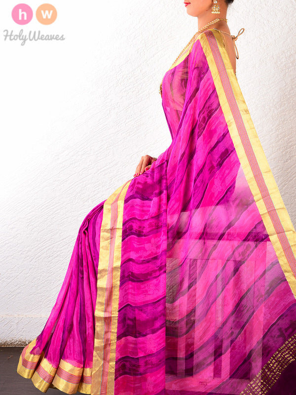 Pink-Purple Hand-Painted Saree- HolyWeaves