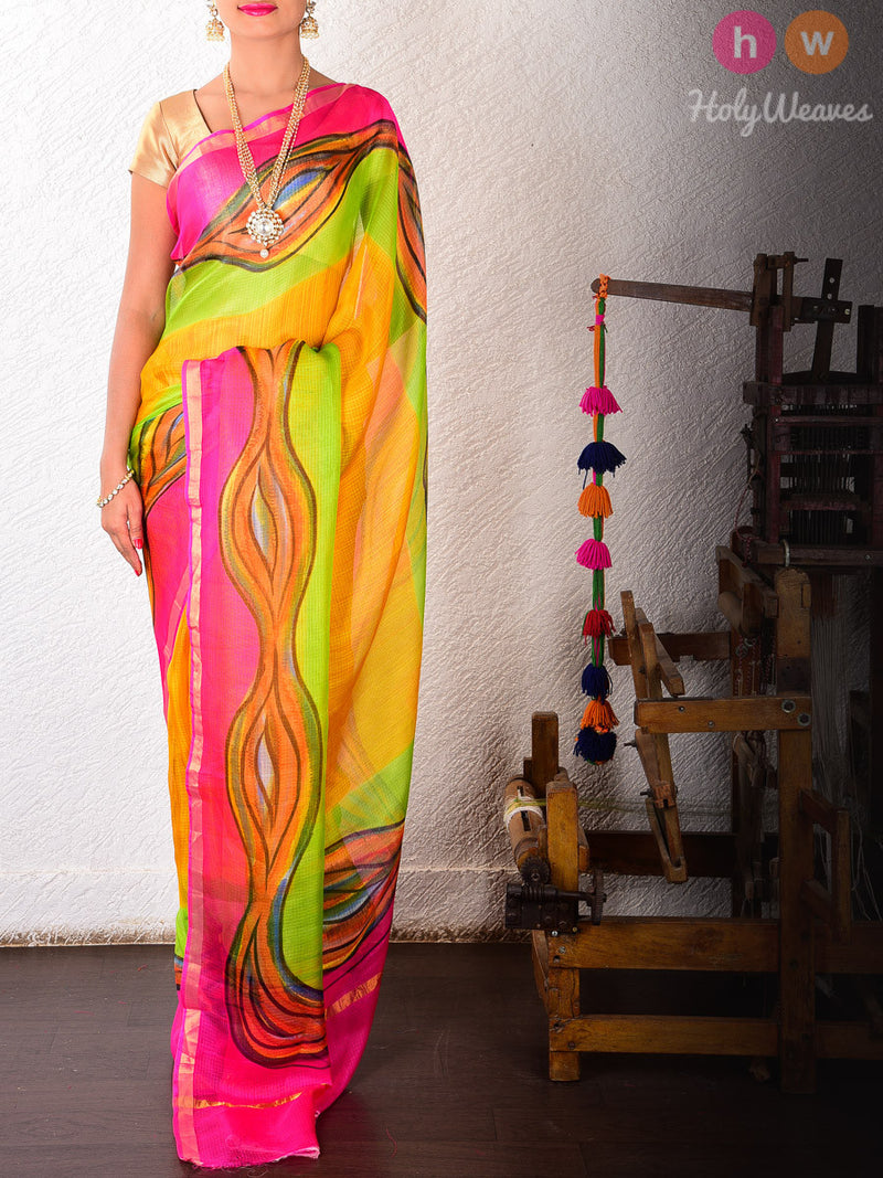 Multi-color Kota Silk  Hand-painted Saree - HolyWeaves