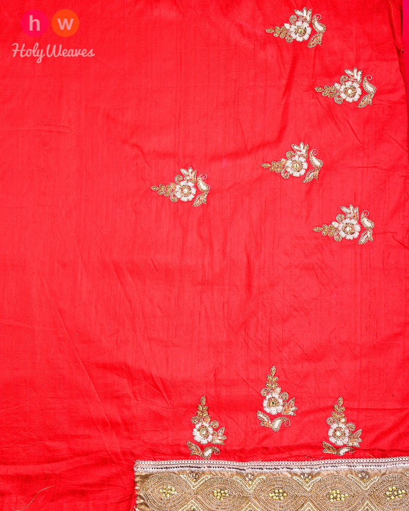 Pink-Red Hand-embroidered Georgette Saree- HolyWeaves