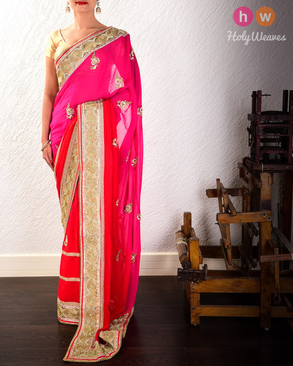 Pink-Red Hand-embroidered Georgette Saree - HolyWeaves